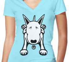 Cartoon English Bull Terrier Sprawl Tee  Women's Fitted V-Neck T-Shirt
