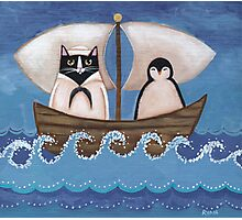 Sailor Cat & Penguin Photographic Print