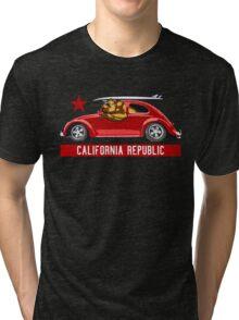 California Republic Surfing Bear (vintage distressed look) Tri-blend T-Shirt