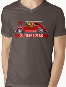 California Republic Surfing Bear (vintage distressed look) Mens V-Neck T-Shirt