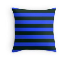 Black and Blue Banded Design Throw Pillow