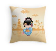 Japanese Maiko Kokeshi Doll Throw Pillow