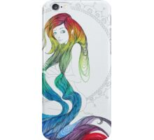 Original Ink Drawing (Rainbow Waves) iPhone Case/Skin