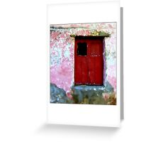 Red Door, the Rain, the Old Wall Greeting Card