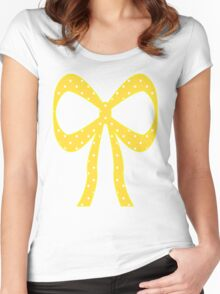 Yellow & White Polka Dots Women's Fitted Scoop T-Shirt