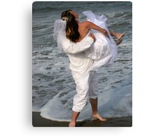 A Playful Bride and Groom Canvas Print