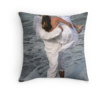 A Playful Bride and Groom Throw Pillow