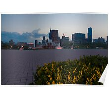 Buckingham Fountain with painted in light Poster
