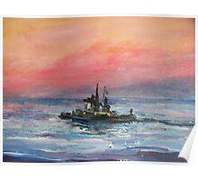 TugBoat at Sunrise Poster