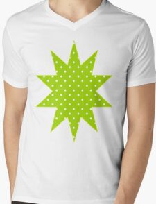 Lime Green Polka Dots Mens V-Neck T-Shirt