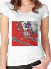 Red and Grey Women's Fitted Scoop T-Shirt