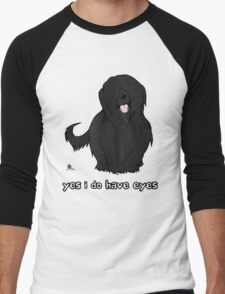 Black Briard - Yes, I have eyes. w/ TEXT Men's Baseball ¾ T-Shirt