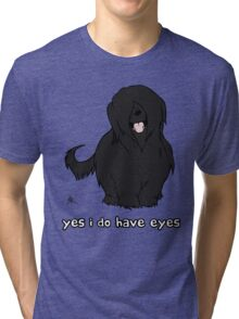 Black Briard - Yes, I have eyes. w/ TEXT Tri-blend T-Shirt