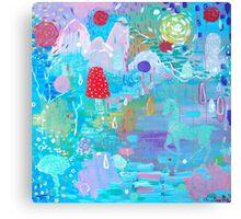 Original Acrylic Painting (Happy Magical Mushroom Forest) Canvas Print