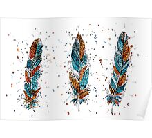 watercolor feathers Poster