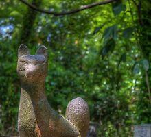Shrine Fox hidden in Shinto shrine in Japan by David LaSpina