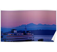 Sundown Over the Olympic Mountains Poster