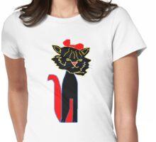 SMUG black CAT  T SHIRT Womens Fitted T-Shirt