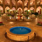 The Amazing Abbasi Hotel - Blue & Gold Courtyard Fountains - Esfahan - Iran by Bryan Freeman