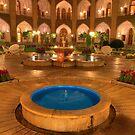 The Amazing Abbasi Hotel - Blue & Gold Courtyard Fountains - Esfahan - Iran by Bryan Freeman