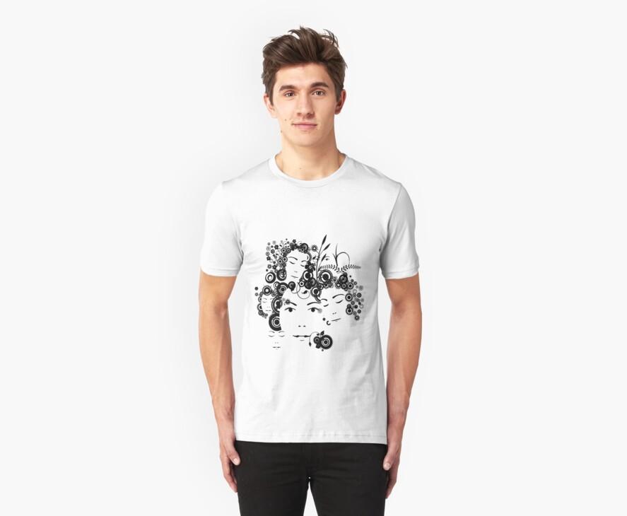 Faces T-shirt by Amalia Iuliana Chitulescu