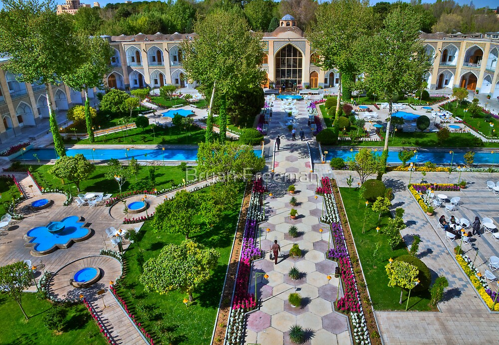 The Amazing Abbasi Hotel - Courtyard From Four Stories High  - Esfahan - Iran by Bryan Freeman