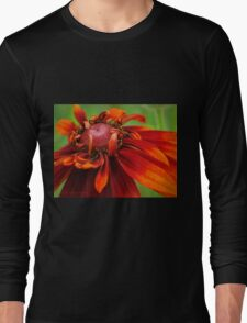 Unfolding Red Flower Long Sleeve T-Shirt