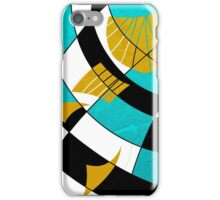 Block abstract art black and teal with gold and white accents iPhone Case/Skin