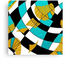 Block abstract art black and teal with gold and white accents Canvas Print
