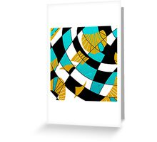 Block abstract art black and teal with gold and white accents Greeting Card