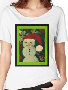Shy Snowman with a Carrot Nose Women's Relaxed Fit T-Shirt