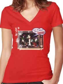 """Popular Science: """"Back off man, I'm a Scientist!"""" Women's Fitted V-Neck T-Shirt"""