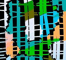 Abstract colorful teal aqua green orange by ackelly4