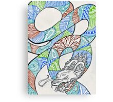 Water and Earth Zentangle Dragon Canvas Print