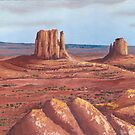 The Mittens ~Tse'Bii'Ndzisgaii ~ Southwest Landscape by Barbara Applegate