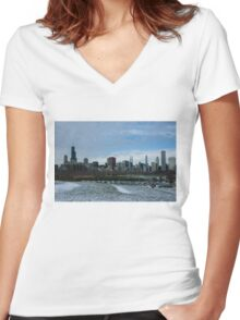Wintry Windy City Skyline - Chicago, Illinois, USA Women's Fitted V-Neck T-Shirt