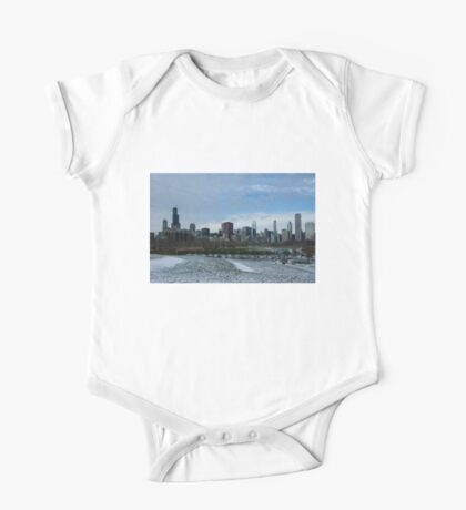 Wintry Windy City Skyline - Chicago, Illinois, USA One Piece - Short Sleeve