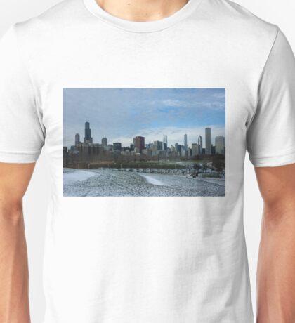 Wintry Windy City Skyline - Chicago, Illinois, USA Unisex T-Shirt