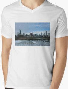 Wintry Windy City Skyline - Chicago, Illinois, USA Mens V-Neck T-Shirt