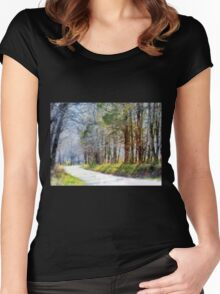 Country Road Through Forest Women's Fitted Scoop T-Shirt
