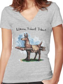 Llama, Taboot Taboot Women's Fitted V-Neck T-Shirt