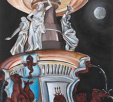 Moonlit Bendigo Fountain by Kim Donald