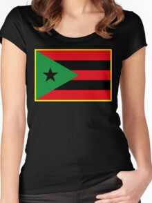 Afro Puerto Rican Flag Women's Fitted Scoop T-Shirt