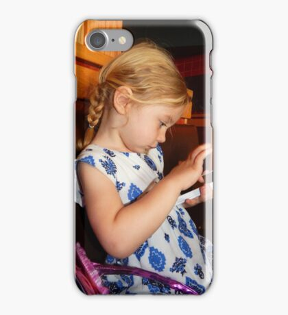 Little Girl with Phone Time iPhone Case/Skin