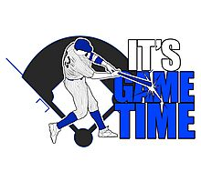 It's Game Time - Baseball (Blue) Photographic Print