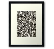 Freehand Black and White Pattern Framed Print