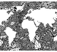 World Map in Negative Space of Random Doodle Patterns by elfinelines