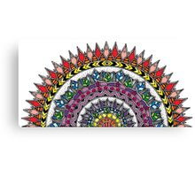 Coloured Half Moon Mandala Canvas Print