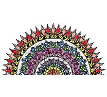 Coloured Half Moon Mandala Photographic Print