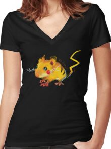 Electric Mouse Women's Fitted V-Neck T-Shirt